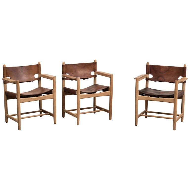 Set of Three Hunting Dining Chairs by Borge Mogensen for Fredericia, Denmark For Sale