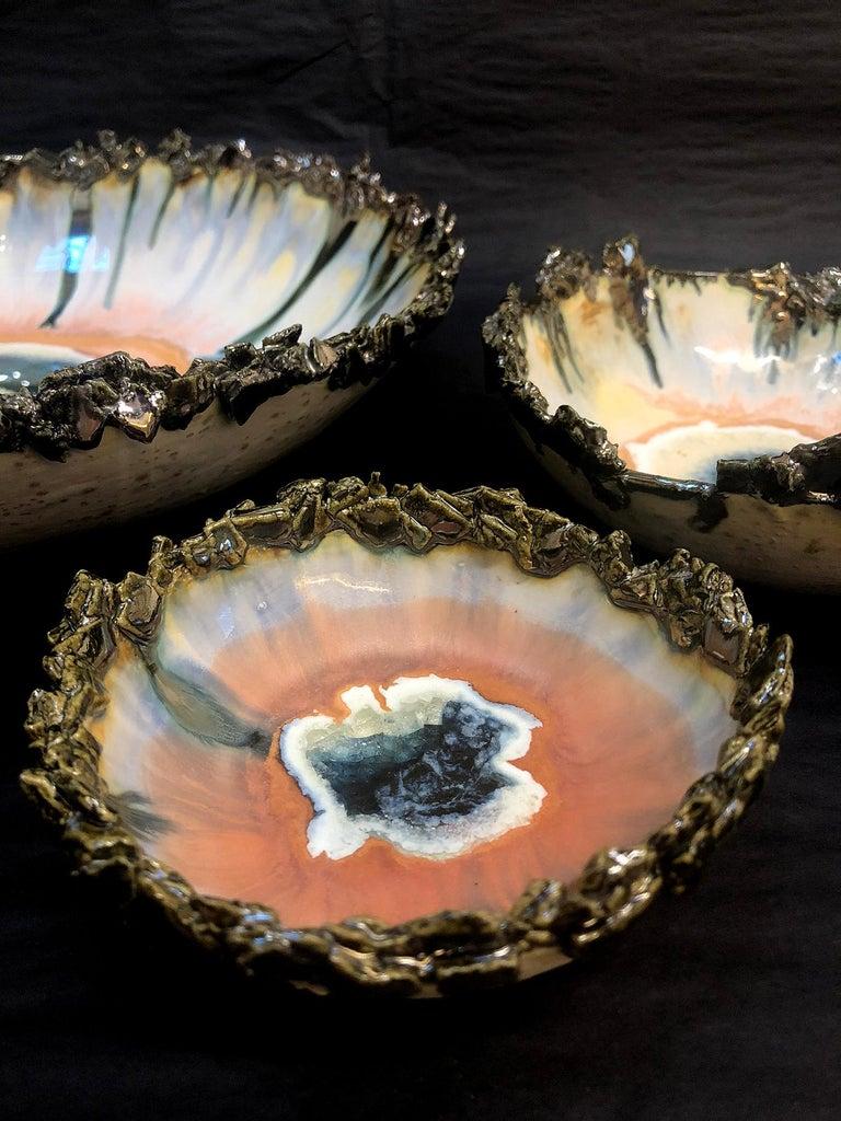 Set aus Drei Island Schalen mit Silberrand von Minh Singer 2