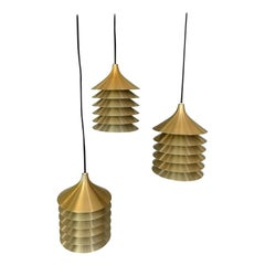 "Set of Three Ikea ""Duett"" Brass Hanging Lights, Bent Boysen, Ikea 1970s, Sweden"