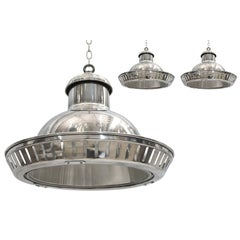 Set of Three Industrial Aluminium Pendant Lights with Halophane Glass Liners