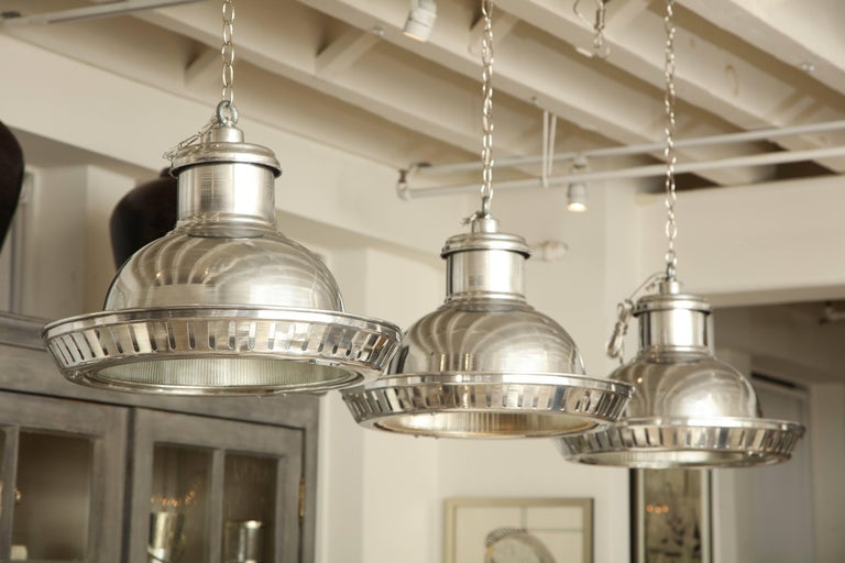 Set Of Three Industrial Aluminium Pendant Lights With Halophane - Set of three pendant lights