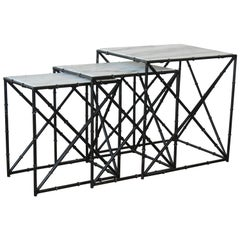 Set of Three Iron and Marble Bamboo Motif Nesting Tables, 1960s