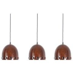 Set of Three Iron Rust Glaze Pendant Lamps, Germany Midcentury