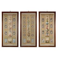 Set of Three Italian 18th Century Fresco Pilasters Prints