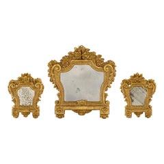 Set of Three Italian 18th Century Louis XV Period Giltwood Mirrors