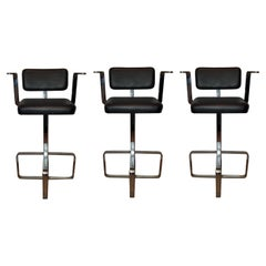 Set of Three Italian 1980s Modern Contemporary Swivel Chrome Leather Bar Stools