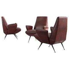 Set of Three Italian Armchairs, Designed by Nino Zondada, Italy, 1950s