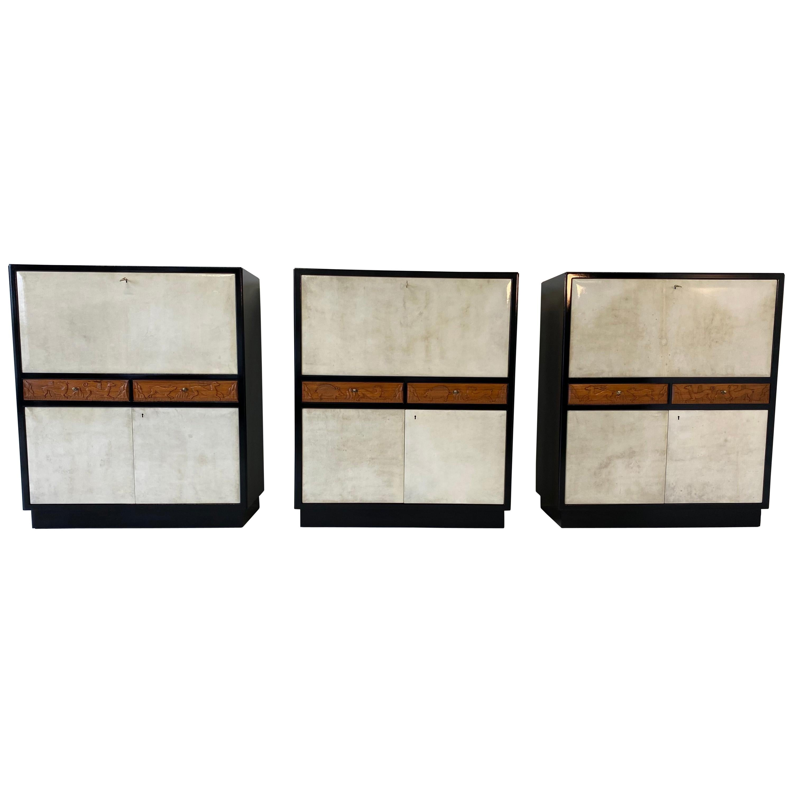 Set of Three Italian Art Deco Black and Parchment Cabinet, 1940s