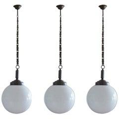 Set of Three Italian Art Deco Large Hand Blown Opaline Glass Ball Pendants