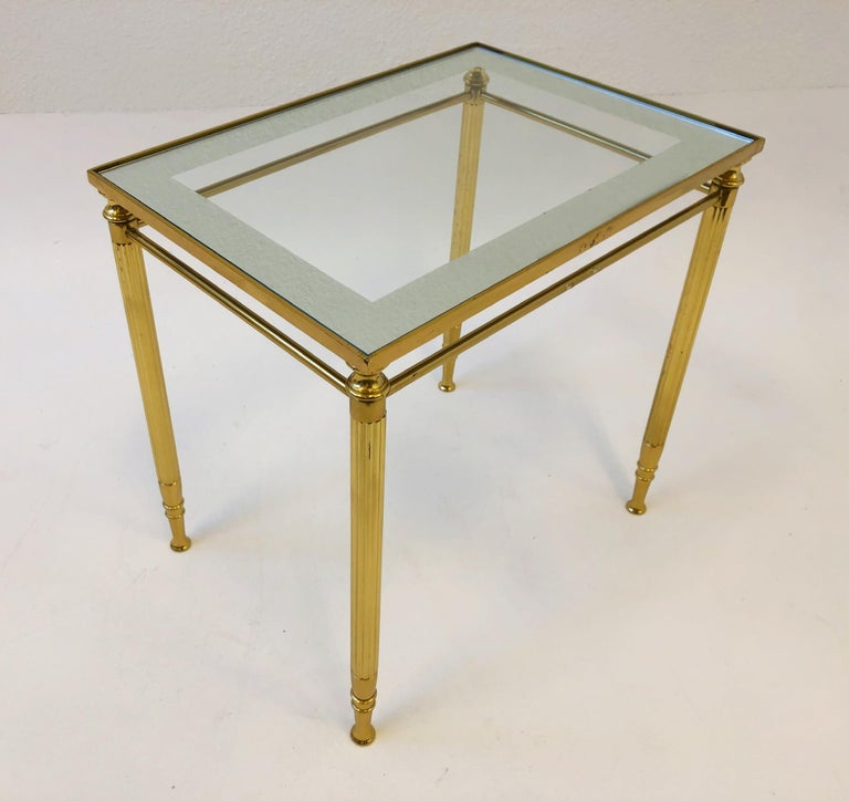 Set of Three Italian Brass and Glass Nesting Tables by Maison Baguès For Sale 5