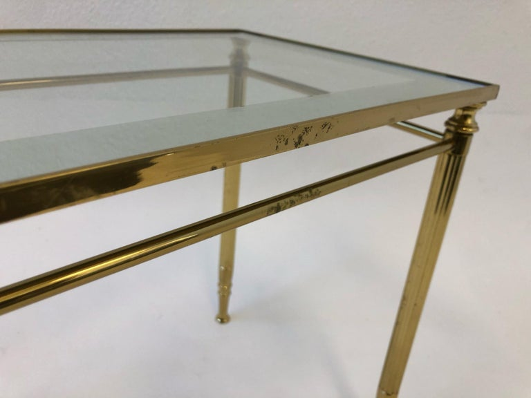 Set of Three Italian Brass and Glass Nesting Tables by Maison Baguès For Sale 6