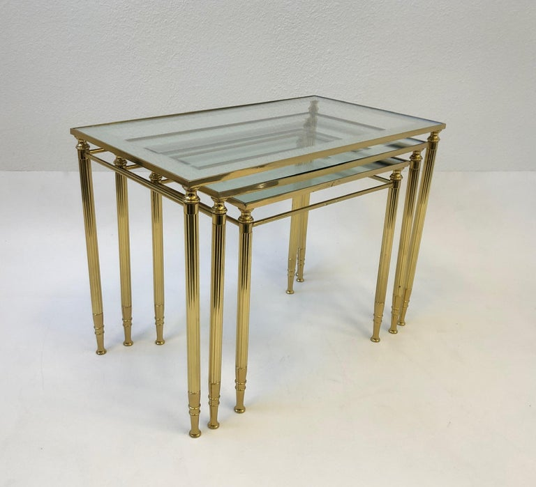 Set of Three Italian Brass and Glass Nesting Tables by Maison Baguès For Sale 3