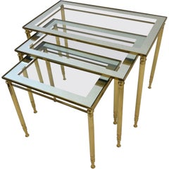 Set of Three Italian Brass and Glass Nesting Tables by Maison Baguès