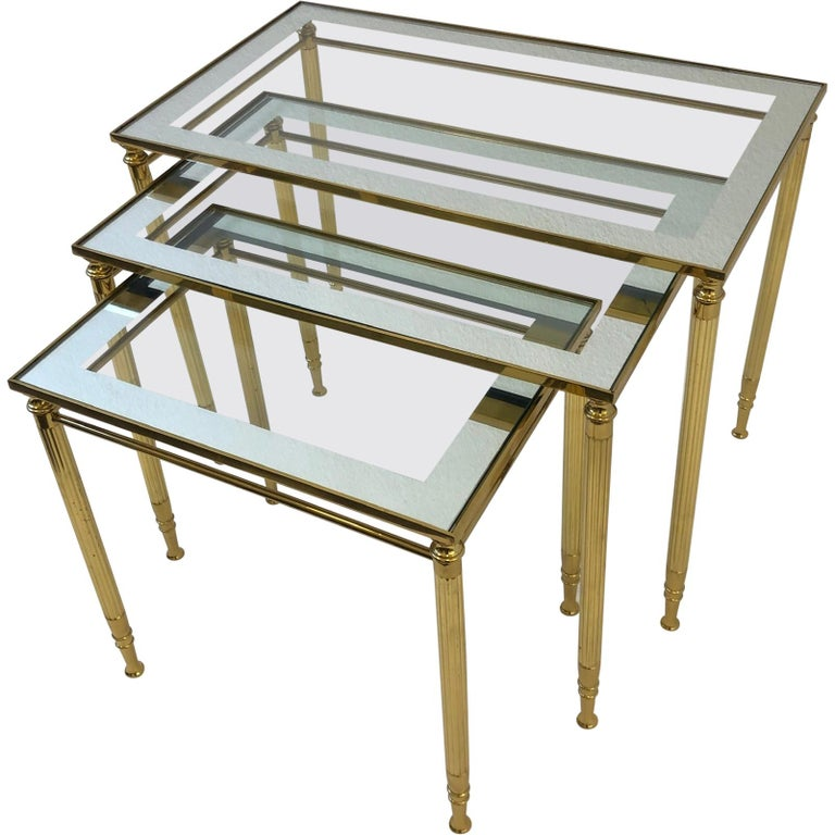 Set of Three Italian Brass and Glass Nesting Tables by Maison Baguès For Sale