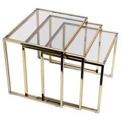 Set of Three Italian Brass and Glass Nesting Tables