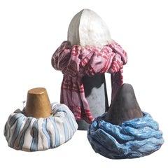 "Set of Three Italian Large Ceramic ""Saraceno"", Handmade in Ischia, XXI century"
