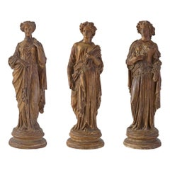 Set of Three Italian Early 18th Century Neoclassical Period Terracotta Statues