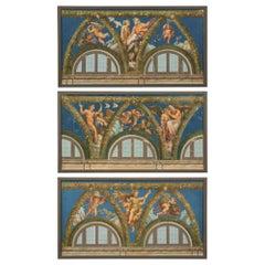 Set of Three Italian Early 19th Century Neoclassical Style Neapolitan Gouaches