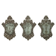 Set of Three Italian Early 19th Century Venetian Etched Mirrors