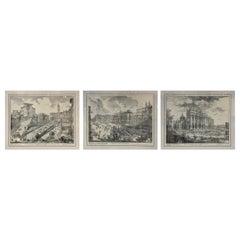 Set of Three Italian Engravings of Roman Scenes