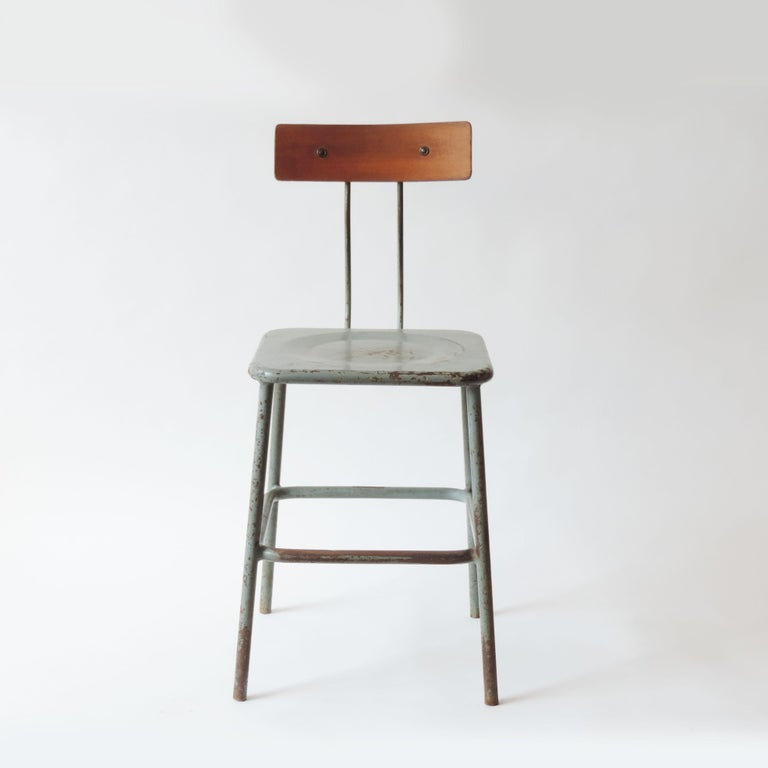 Set of three Italian Industrial chairs, Italy 1950s.