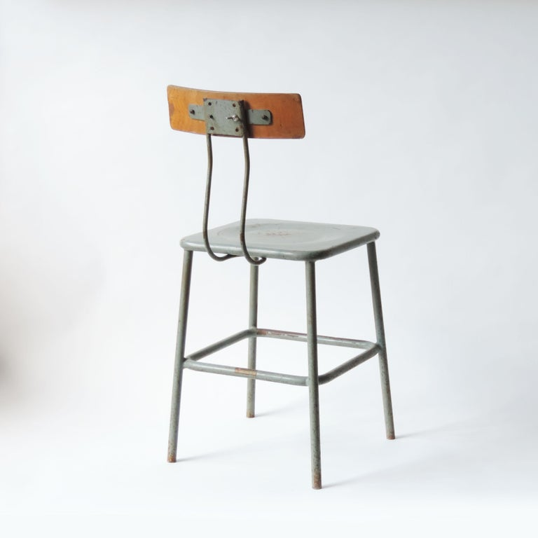 Cold-Painted Set of Three Italian Industrial Chairs, Italy, 1950s For Sale