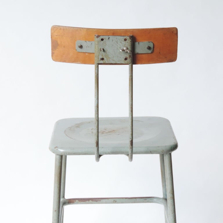 Set of Three Italian Industrial Chairs, Italy, 1950s In Fair Condition For Sale In Milan, IT
