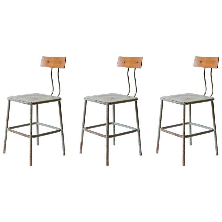 Set of Three Italian Industrial Chairs, Italy, 1950s For Sale