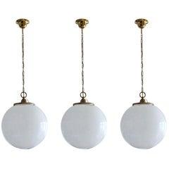 Set of Three Italian Large Hand Blown Opaline Glass Sphere Pendants, 1950s
