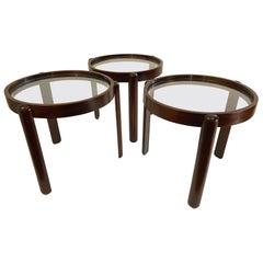 Set of Three Italian Mid-Century Modern Mahogany Nesting Tables, 1960s