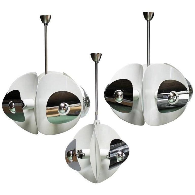 Set of Three Italian Mirror Pendants by Brevettato For Sale
