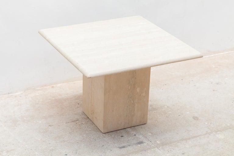 Mid-Century Modern Set of Three Italian Modern Travertine Coffee Tables, Nesting Tables For Sale