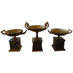 Set of Three Italian Neoclassical Style Carved Giltwood Urns
