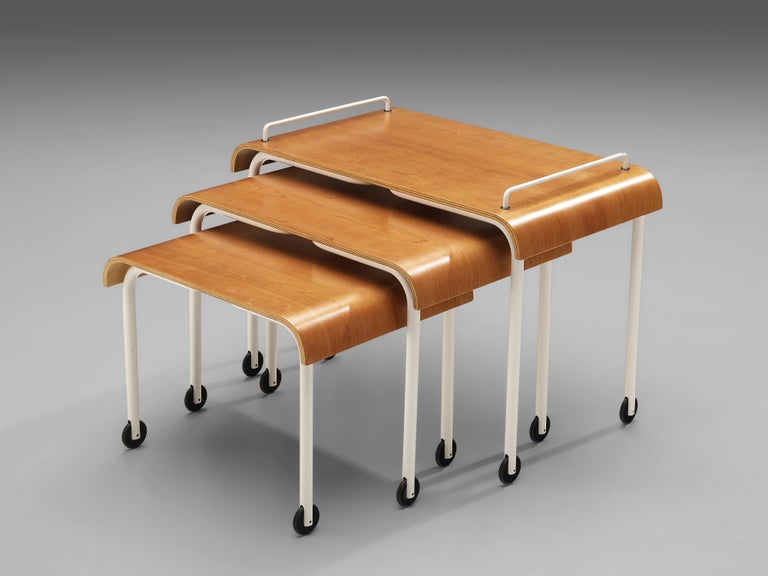 Three nesting tables, plywood, metal, Italy, 1970s