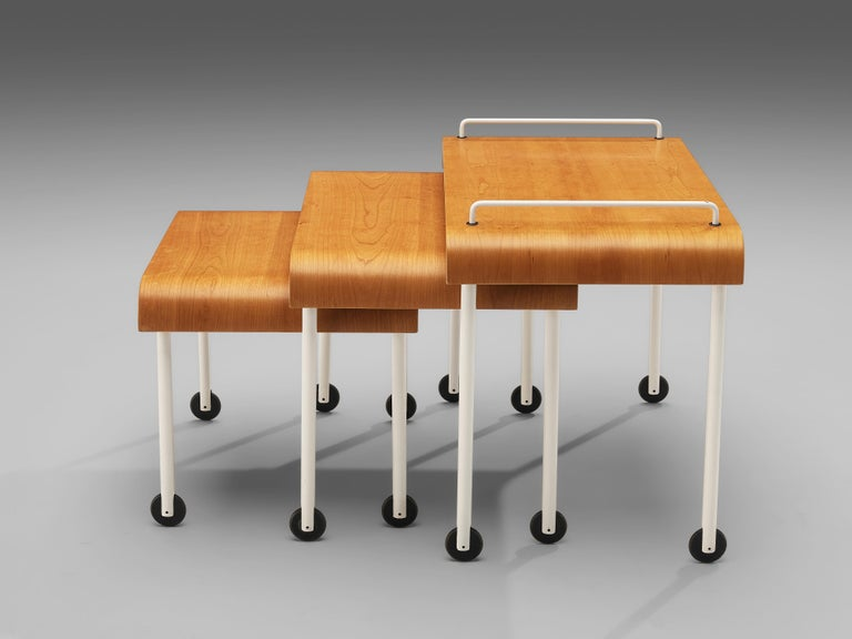 Late 20th Century Set of Three Italian Nesting Tables on Wheels in Metal and Plywood For Sale