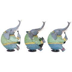 Set of Three Italian Painted Metal or Tole Elephants