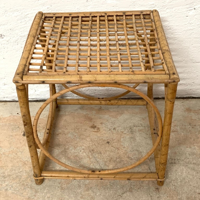 Set of Three Italian Rattan Nesting or Bunching Cube Tables, Franco Albini For Sale 4