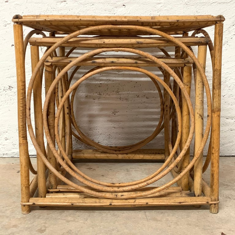20th Century Set of Three Italian Rattan Nesting or Bunching Cube Tables, Franco Albini For Sale