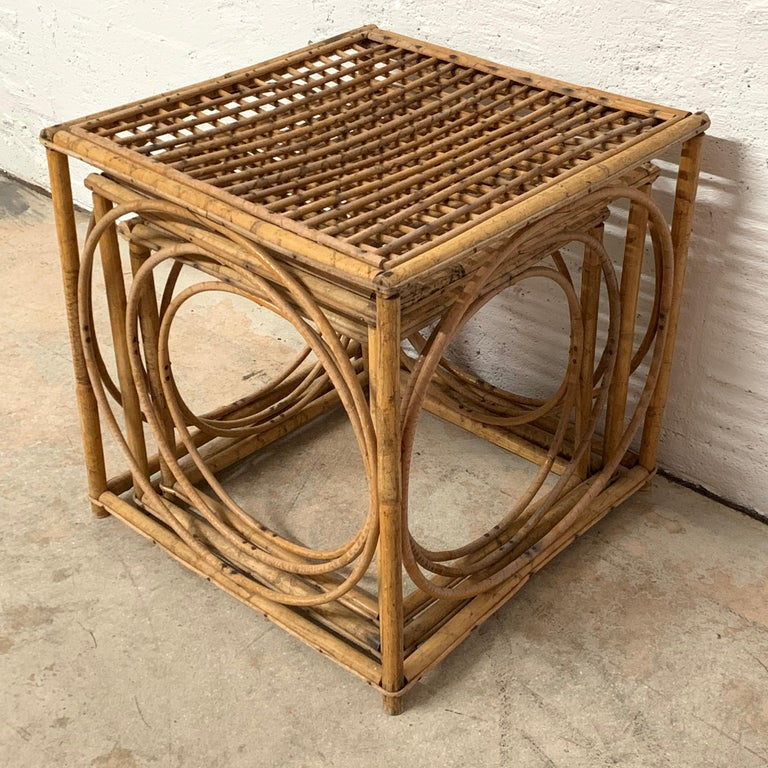 Bamboo Set of Three Italian Rattan Nesting or Bunching Cube Tables, Franco Albini For Sale