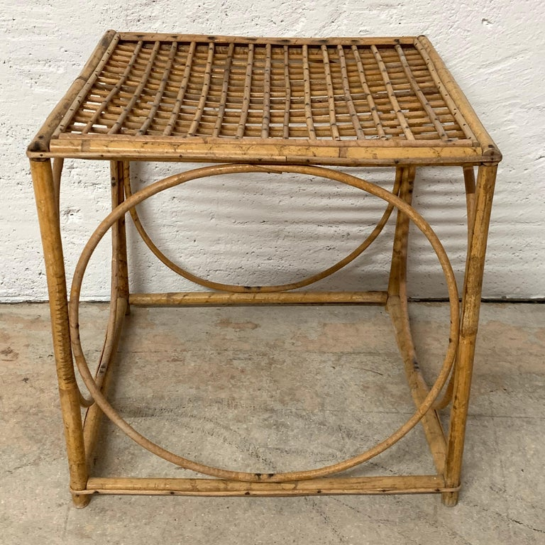 Set of Three Italian Rattan Nesting or Bunching Cube Tables, Franco Albini For Sale 2