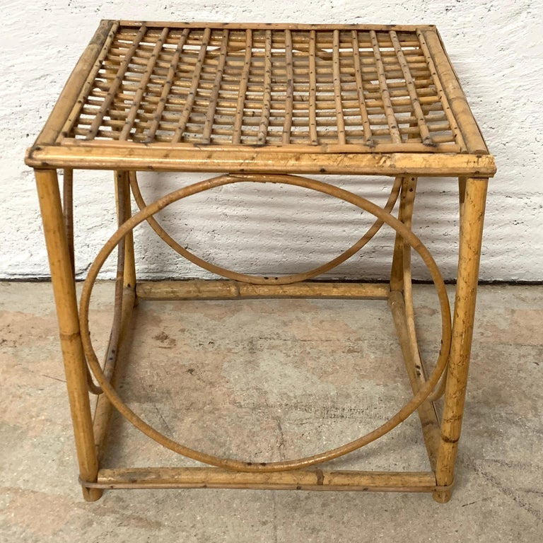 Set of Three Italian Rattan Nesting or Bunching Cube Tables, Franco Albini For Sale 3