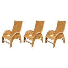Set of Three Italian Rattan Patio Lounge Chairs for Bonacina