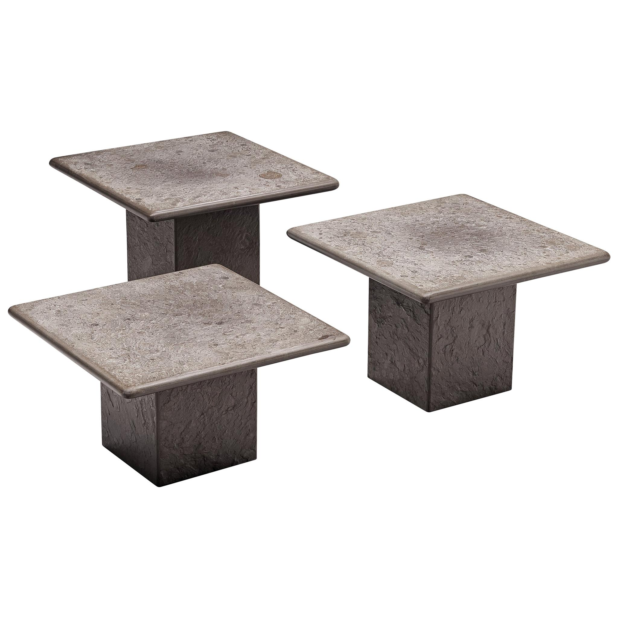 Set of Three Italian Side Tables in Fossil Stone