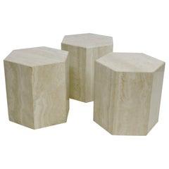 Set of Three Italian Travertine Marble Hexagon Modular Coffee or End Tables