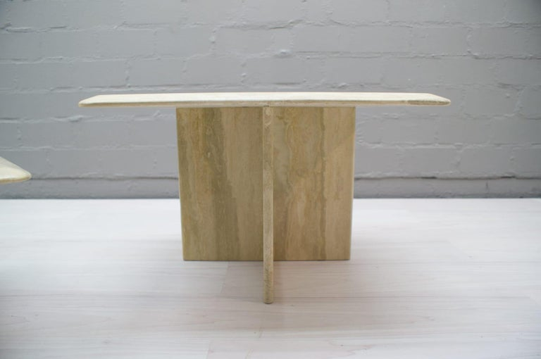 Set of Three Italian Travertine Side or End Tables, 1970s For Sale 7