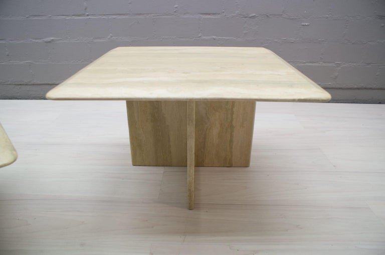 Set of Three Italian Travertine Side or End Tables, 1970s For Sale 8
