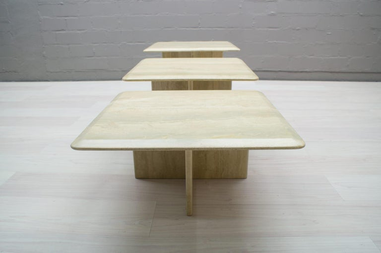 Mid-Century Modern Set of Three Italian Travertine Side or End Tables, 1970s For Sale