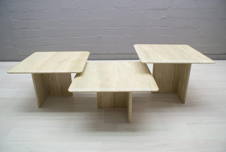 Late 20th Century Set of Three Italian Travertine Side or End Tables, 1970s For Sale