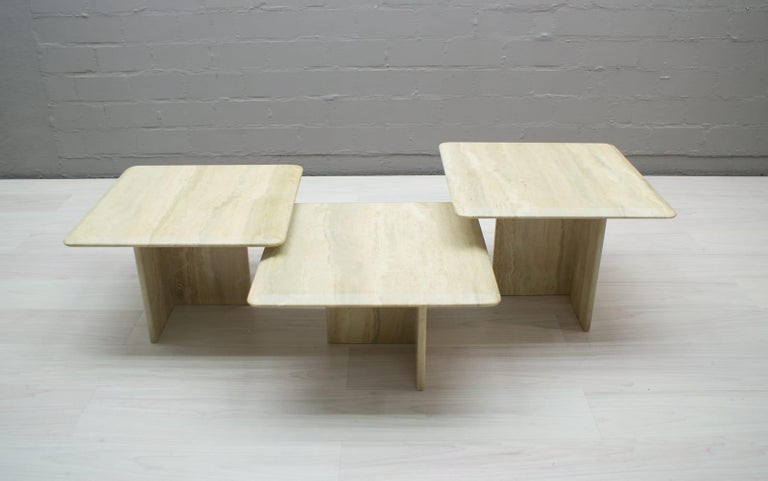 Set of Three Italian Travertine Side or End Tables, 1970s For Sale 1
