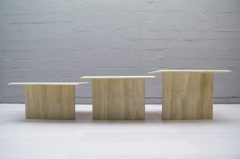 Set of Three Italian Travertine Side or End Tables, 1970s For Sale 2